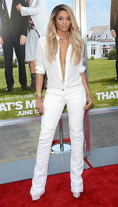 Ciara s all white outfit at that s my boy premiere hit or