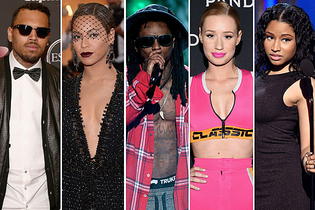 Chris Brown, Beyonce, Lil Wayne, Iggy Azalea, Nicki MInaj