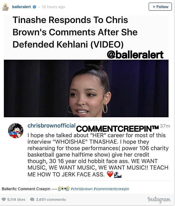 Chris Brown Slams Tinashe on Instagram: '16 Year Old Hobbit Face' news