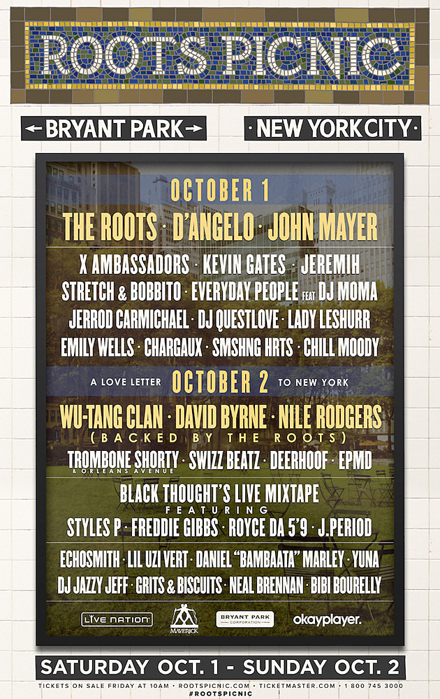 D'Angelo, Wu Tang Clan, David Byrne Join the Roots for NYC Picnic news