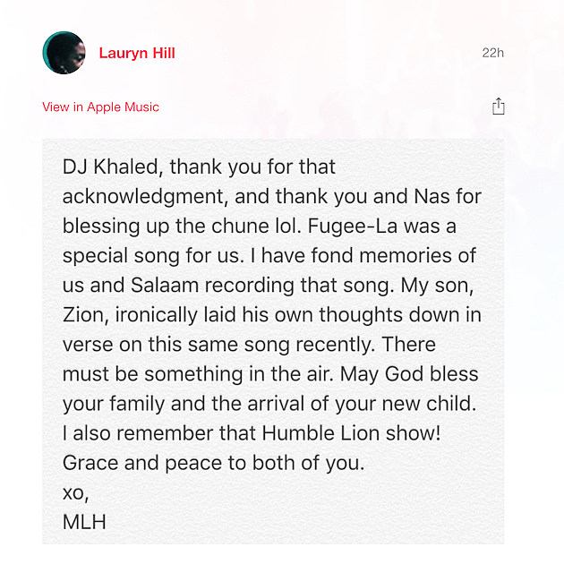 Lauryn Hill Thanks DJ Khaled for Fugees Sample on 'Nas Album Done ...