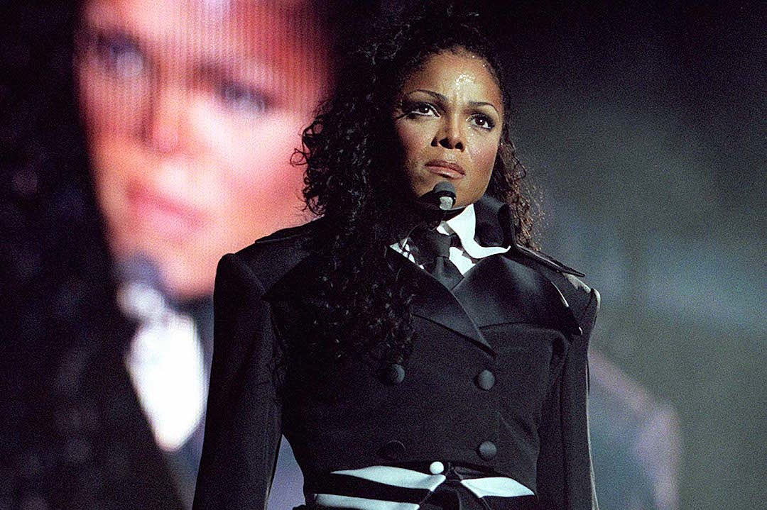 Janet Jackson pictured in front of large screen as